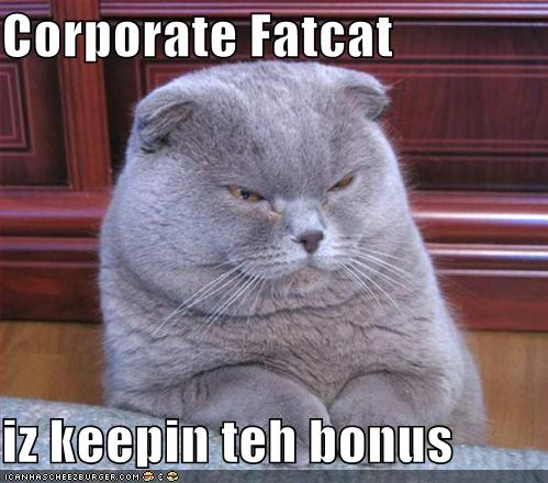 Funny Pictures Corporate Fat Cat Keeping The Bonus